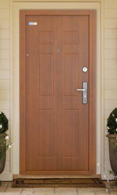 Aranytölgy TerraSec kültéri biztonsági ajtó - Classic Line mintával, Selyemfényű