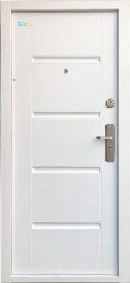 Fehér TerraSec biztonsági ajtó bérházba - Luxury Line mintával, Selyemfényű