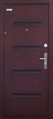 Sötét cseresznye TerraSec biztonsági ajtó bérházba - Luxury Line mintával, Selyemfényű