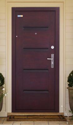 Sötét cseresznye TerraSec kültéri biztonsági ajtó  - Luxury Line mintával, Selyemfényű